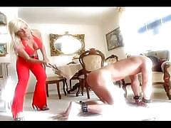 Blonde mistress whips her slave's hot firm ass