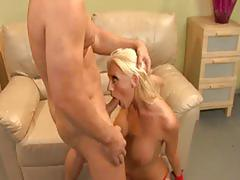 Blondie with big tits fucked in her shaved pussy
