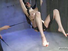 Brunette slave gets gagged and suspended