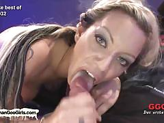 Cock lovers exercise their cum eating skills