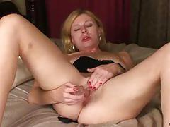 Hot blonde mary jane fucks her pussy with a dildo