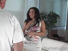 Hot mistress masturbates and fucks her slave's ass