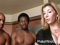 Busty blonde milf sara jay enjoys two black cocks