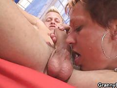 Granny rides her hot neighbor's dick