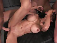 Busty brunette mckenzie lee gets gangbanged