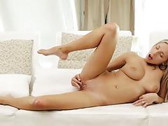 Hot blonde slut fingers her sweet pink cunt