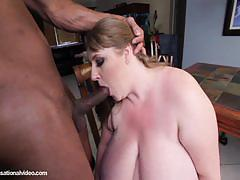 Bbw brunette rides a hard rod of black meat