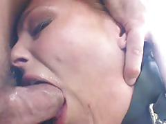 Bitch drilled in ass by a cock and toy in pussy