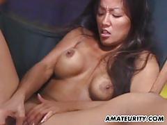 Long black hair amateur asian gf gets fucked hard.