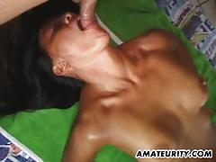 Long black hair amateur asian gf gets fucked hard.