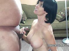 Mature busty brunette melissa sucking a cock.