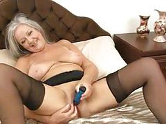 Classy granny april thomas getting off