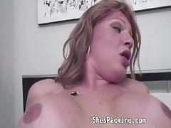 Horny shemale and her man bang their asses