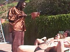 Massive black manhood shared outdoors for fucking