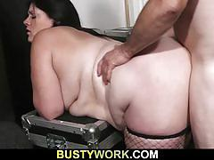 Chubby brunette in fishnets sucks and gets fucked
