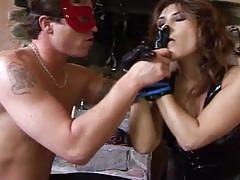 Brunette slut rammed hard in this fetish video