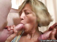 A robbery gets turned into threesome granny fuck.