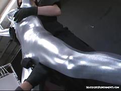 Full body silversuit wrapped bondage and vibrators