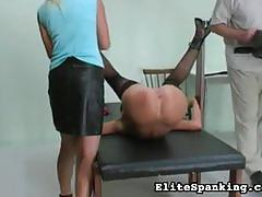 Hot blonde and brunette sluts get spanked hard