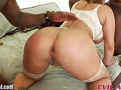 Chesty blonde double penetrated by black studs