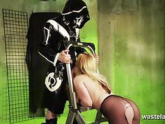Master spanking her sex slave in her pantyhose