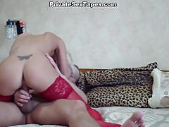 Blonde in red stockings gets banged hard