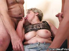 Blonde mature enjoys an old and a young cock