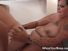 Bbw brunette bangs her man's tight firm ass