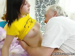 Lucky old man fucking charming alena's tight ass