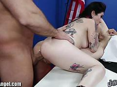 Tattooed brunette joanna angel gets dped hard