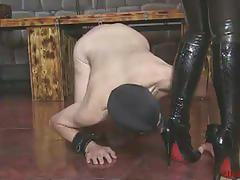 Ella kross's slave cleans boots with his tongue
