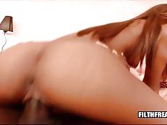 Hot ebony girl gets fucked and gets pussy creampie