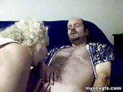 Curly blonde milf gives her man's a great blowjob