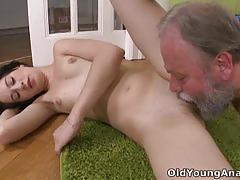 Grandpa finds olga rubbing herself and fucks her