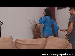 Massage blowjob with cute teen