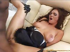 Hot brunette gets assfucked by a hung blacks tud