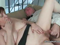 Adventurous old couple fucking in the living room