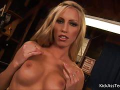 Hot blonde cassie young rides a hard rod of meat