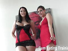 Horny dommes make you eat your fresh cum