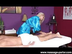 Blonde masseuse gives her man a happy ending