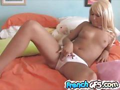 Naked french nympho rubs herself