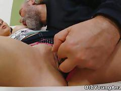 Teen has her ass hole penetrated by an old man
