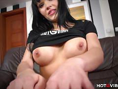 Beautiful babe emma fingers her tight shaved pussy