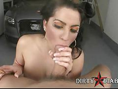 Chesty gina hawk smoking and blowing cock