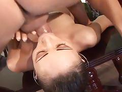 Big dick pumping for this hot brunette slut