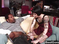 Sparky sin clair loves to drain a huge black dick.