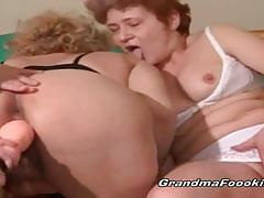 Two grannies toying a third granny