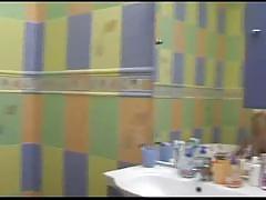 Busty brunette teen shower pussy fun