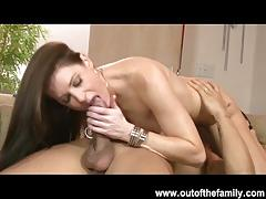 Horny brunette bitches share cock