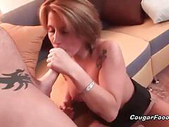 Awesome blonde milf sucks cock and gets banged